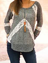 CEN     Women's Patchwork Gray T-Shirts , Sexy / Casual Round Long Sleeve