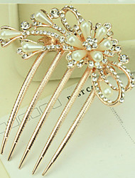 South Korea High-Grade Ornaments in Combs Hair Clasp Diamond Pearl Twist  The  Peony