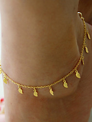 Women's Simple Gold Plated Trinkets Leaves Pendant Tassel Anklet