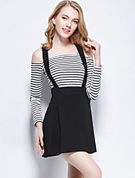 Women's Striped Pleated Black Set , Bateau High Waist Long Sleeve