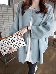 Women's Solid Blue / Gray Cardigan , Casual Long Sleeve