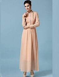 De las mujeres Corte Ancho Vestido Vintage / Casual / Playa Un Color Maxi Escote Chino Mezclas de Algodón
