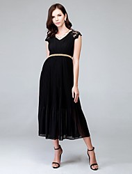 Women's Casual/Daily Dress,Solid Round Neck Midi Sleeveless Black Polyester Summer