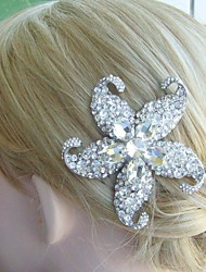 Bridal Hair Jewelry Wedding Hair Comb Silver-tone Rhinestone Crystal Starfish Hair Comb Bridal Hair Comb Bridal Jewelry