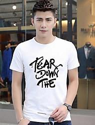 Informeel - Opdruk - Korte Mouw - MEN - Katoen - T-shirts - Groen/Wit