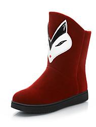 Zapatos de mujer - Tacón Plano - Botas de Nieve - Botas - Exterior / Casual - Vellón - Negro / Bermellón