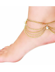 Women's Multilayer Chain Tassel Zircon Anklet