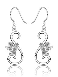 lureme® Fashion Style Silver Plated Swan Shape with Zircon Dangle Earrings