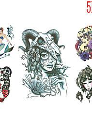 Tatuajes Adhesivos - Non Toxic/Modelo/Talla Grande/Tribal/Waterproof - Series de Animal - Mujer/Hombre/Juventud - Multicolor - Papel - 5 -