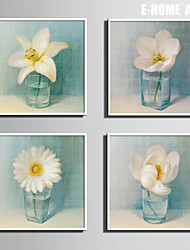 E-HOME® Framed Canvas Art, Small White Flowers in The Bottle Framed Canvas Print Set of 4