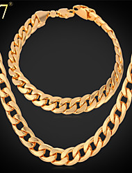 U7® Men's 3 Colors Cuban Link Chain Necklaces 18K Gold/Rose Gold/Platinum Plated Classic Bracelets Hiphop Jewelry Set