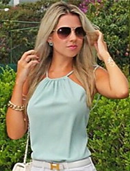 Women's Off-the-shoulder Backless/Fashion Tops & Blouses , Chiffon Bodycon Sleeveless Barbara