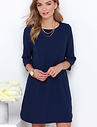 CEN     Women's Solid Color Blue Dresses , Casual / Party Round Long Sleeve