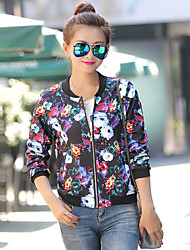 Women's Print Multi-color Coats & Jackets , Casual Round Long Sleeve
