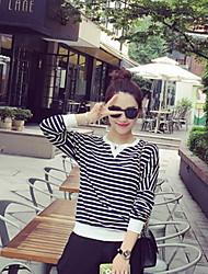 Women's Striped White / Black T-shirt , Round Neck Long Sleeve