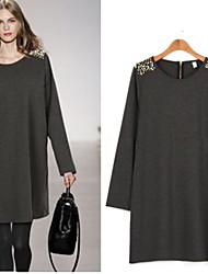 Women's Solid Color Black / Gray Plus Size Dresses , Vintage / Casual / Lace / Party Round Long Sleeve