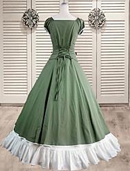 lange mouw vloer lengte beige provinciale katoenen sweet lolita jurk