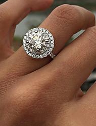Bague de Fiaçailles - en Zircon Cubique / Diamant / Plaqué Argent Travail / Décontracté