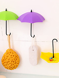 3pcs Set Umbrella Wall Mount Colorful Key Holder Wall Hook Hanger Organizer (Random Color)