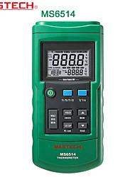 mastech medidor de temperatura termopar ms6514 dual (k / j / t / e / r / s / n tipo de sonda) con el almacenamiento y transmisión de datos