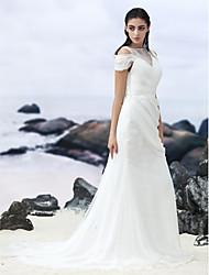 Lanting Bride Sheath/Column Wedding Dress-Court Train Bateau Chiffon / Lace