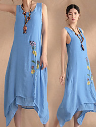 Large size   Women's Character Blue Dresses , Casual Round Sleeveless