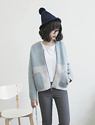 Women's Patchwork Blue Cardigan , Casual Long Sleeve