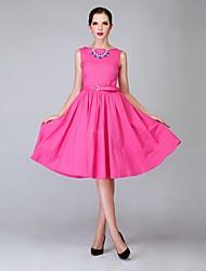 kvinnors plus size scoop krage ärmlösa midi swing vintageklänning