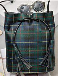 Women PU Barrel Shoulder Bag - Green / Red
