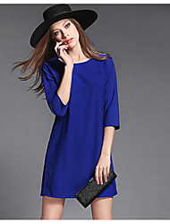 Women's Work Plus Size Dress,Solid Round Neck Above Knee ¾ Sleeve Blue / Black Cotton Fall
