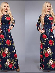 Women's Floral Multi-color Dresses , Casual Round ¾ Sleeve
