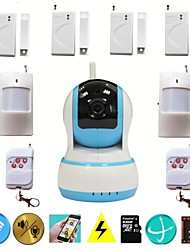 HD 720P IR WIFI Video IP Camera Security Wireless Home Alarm System With Door Sensor PIR Detector TF SD Card Strorage