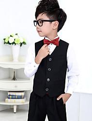 Black / Red Polester/Cotton Blend Ring Bearer Suit - 4 Pieces Includes  Shirt / Vest / Pants / Bow Tie