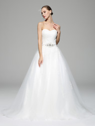 A-line Wedding Dress Chapel Train Sweetheart Lace / Organza with Appliques / Button / Crystal