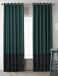 Neoclassical Two Panels Characters Dark Green Living Room Poly  Cotton Blend Panel Curtains Drapes