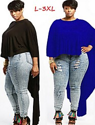 Women's Solid Color Blue / Red / White / Black / Yellow / Purple Plus size Tops & Blouses , Casual Round ¾ Sleeve