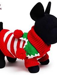 Gatos / Cães Casacos / Súeters Vermelho / Branco / Verde Roupas para Cães Inverno Riscas Natal / Ano Novo