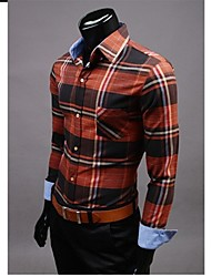 Men's Striped / Plaids / Solid Casual / Work / Formal / Sport / Plus Sizes Shirt,Cotton Blend Long Sleeve Brown