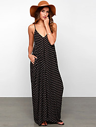 Women's Plaid Black Dresses , Beach / Party V-Neck Maxi