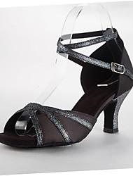 Женская обувь - Атлас - Номера Настраиваемый ( Черный ) - Латино