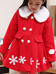 Girl's Pink / Red / Yellow Dress , Floral Cotton Winter / Fall