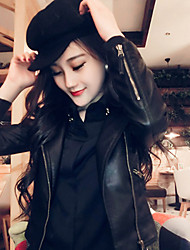 Women's Fashion Faux Leather Motor Vehicle Long Sleeve Coat