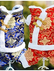 FUN OF PETS® New Year Festival Brocade  Embroidery Traditional Chinese Garments Dogs Coat for Pets Puppy Dogs