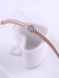 Hot Women Jewelry Light Pink Leather Bangle Bracelet Diamond