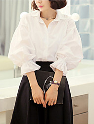 Women's Solid White Blouse(cotton)