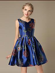 여성의 지퍼 / 꽃패턴 드레스 라운드 넥 민소매 무릎 위 면혼방