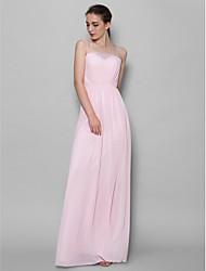 Floor-length Chiffon Bridesmaid Dress Sheath / Column Spaghetti Straps with Lace
