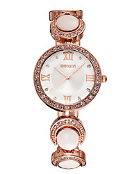 Weiqin® Woman Rome Style Rose Gold White Rhinestone Round Dial Quartz Wrist Watches Cool Watches Unique Watches