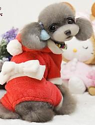 Mäntel / Kapuzenshirts / Hosen für Hunde / Katzen Rot Winter Neujahr / Weihnachten XS / S / M / L / XL Polar-Fleece