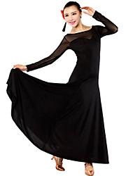 Ballroom Dance Dresses Women's Performance Milk Fiber Draped 1 Piece Black / Pink / Red